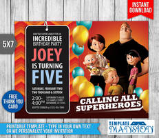 The Incredibles Birthday Invitation, PSD, DIY by templatemansion