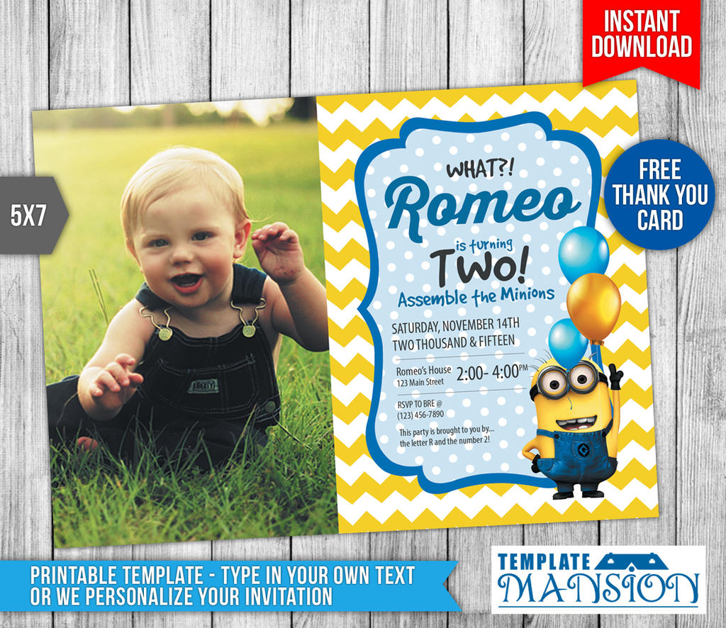Minions Photo Invitation Minions Template PSD By Templatemansion - Minions birthday invitation template