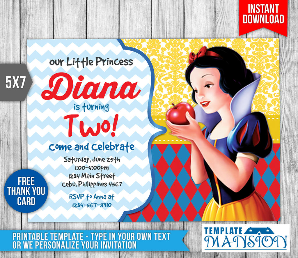 Snow White Invitation, Birthday Invitation, PSD By