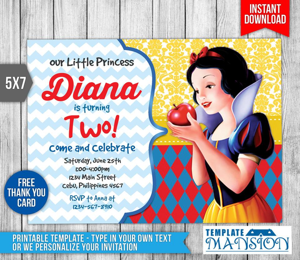 Snow white invitation birthday invitation psd by templatemansion stopboris Choice Image