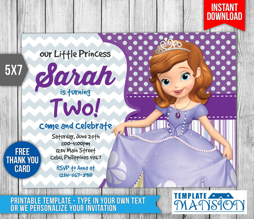 Sofia the First Invitation Invite Template PSD by templatemansion
