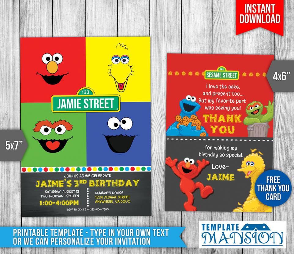 Sesame Street Birthday Invitation, Invite, PSD by templatemansion on ...