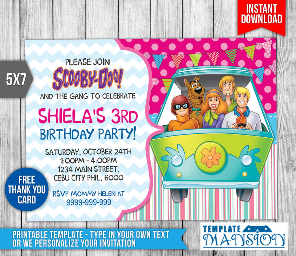Scooby Doo Birthday Invitation, Invite, PSD by templatemansion on ...