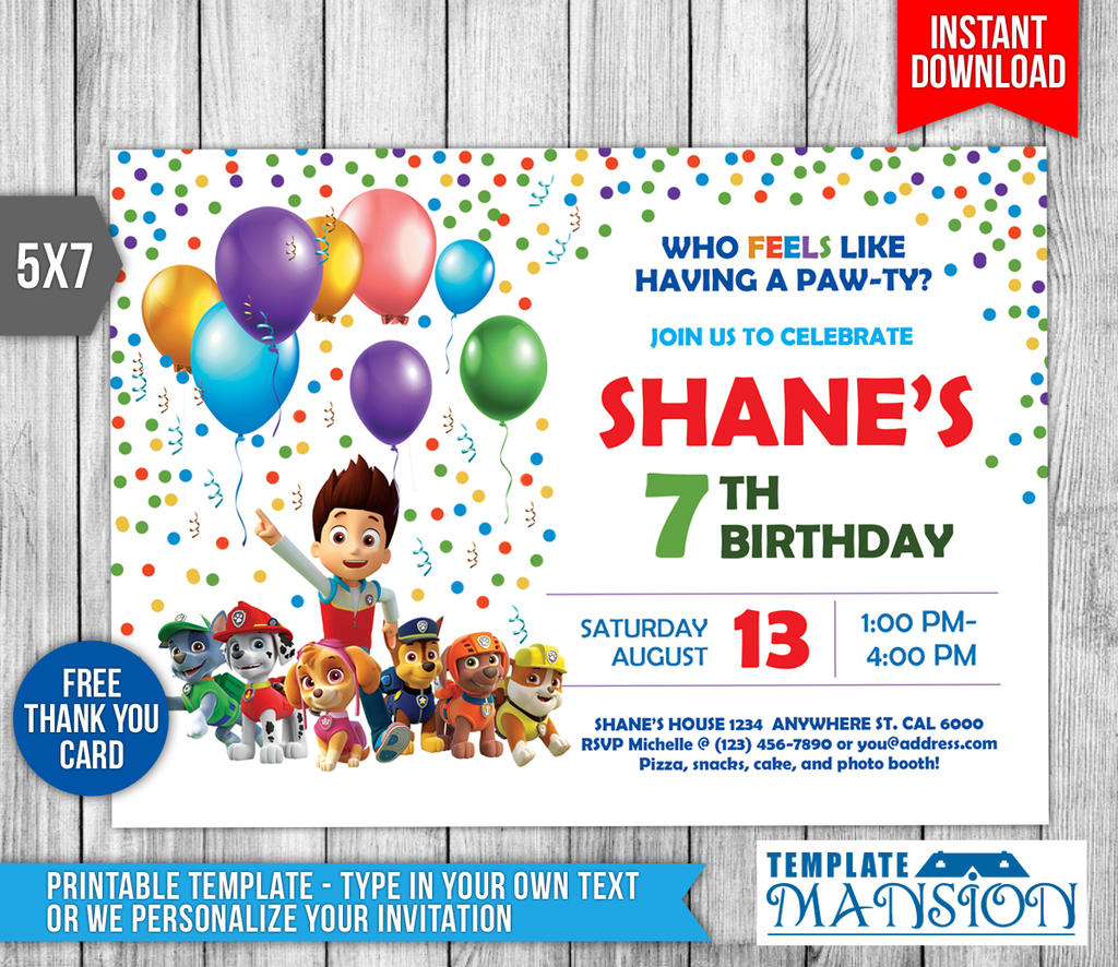 Paw Patrol Invitation, Invite, Printable, PSD, DIY by ...