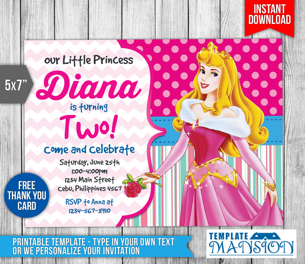 Sleeping beauty invitation disney princess invite by sleeping beauty invitation disney princess invite by templatemansion stopboris Images