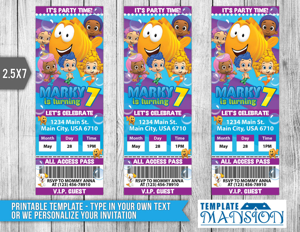 Bubble Guppies Ticket Invitation, Printable, PSD by templatemansion ...