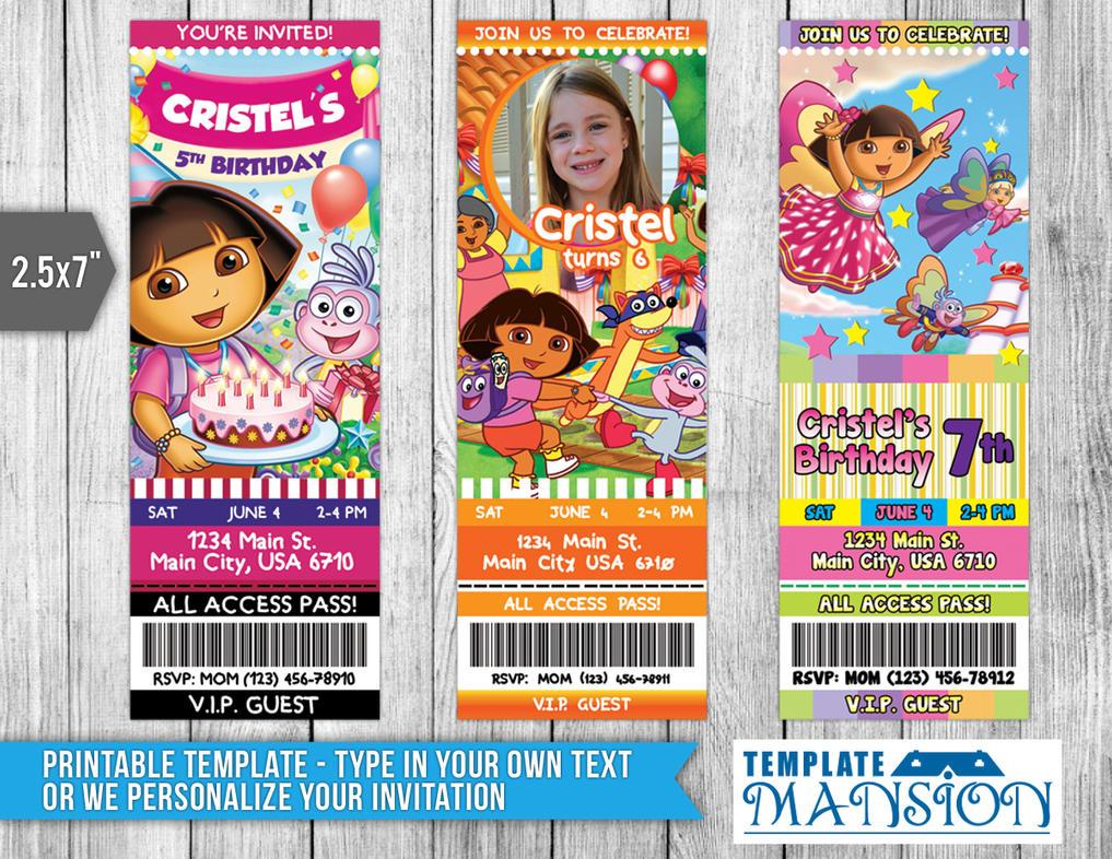 Dora the Explorer Ticket Invitation, PSD, DIY by templatemansion on ...