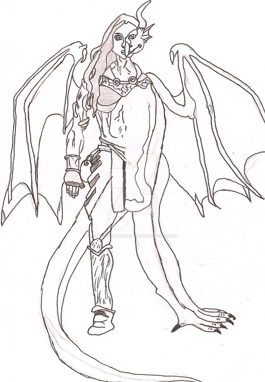 Human Dragon Hybrid Drawing Half Dragon by Karaya San on