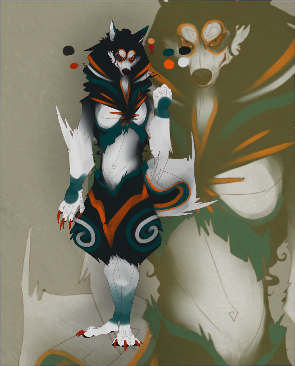 Husky-Lion Fursona Design by azaskal