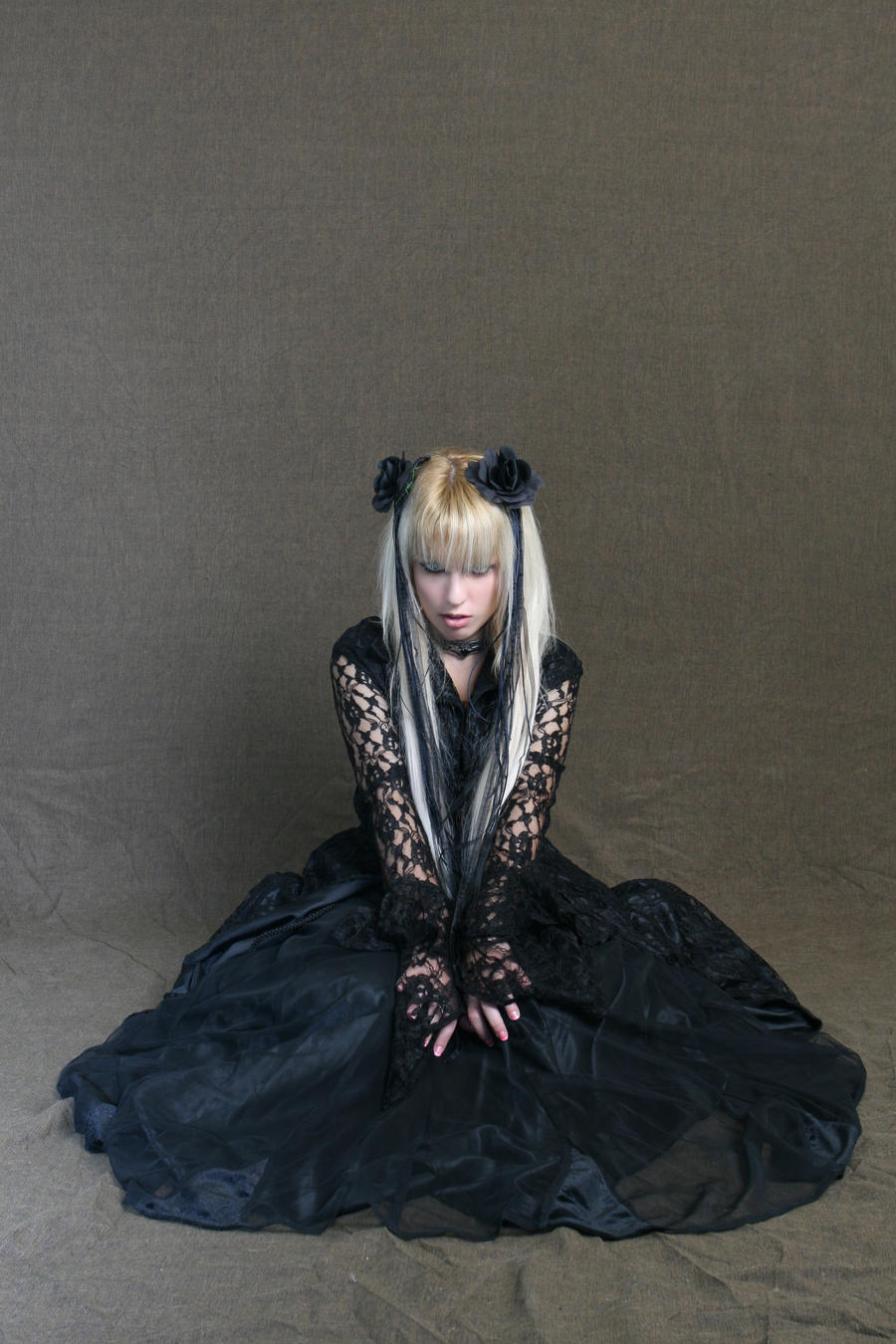Girl in gothic lace coat I