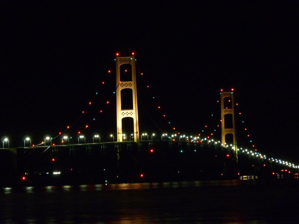 Mackinac Bridge Night Elevation by historicbridges