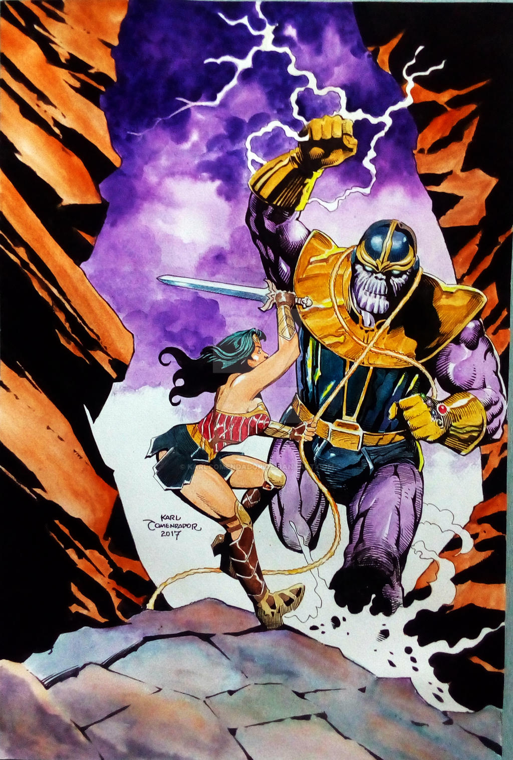 Wonder Woman vs. Thanos 12 x 18 by karlcomendador on ...