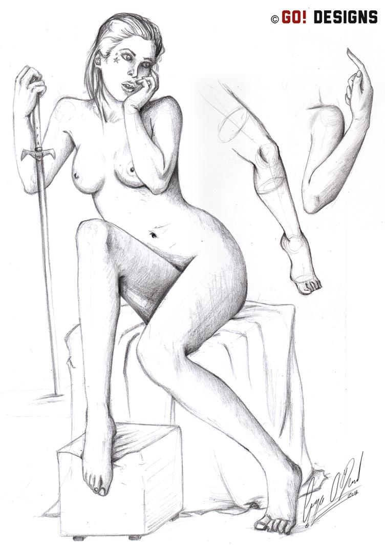Life Drawing of sad Woman by RiokoLove