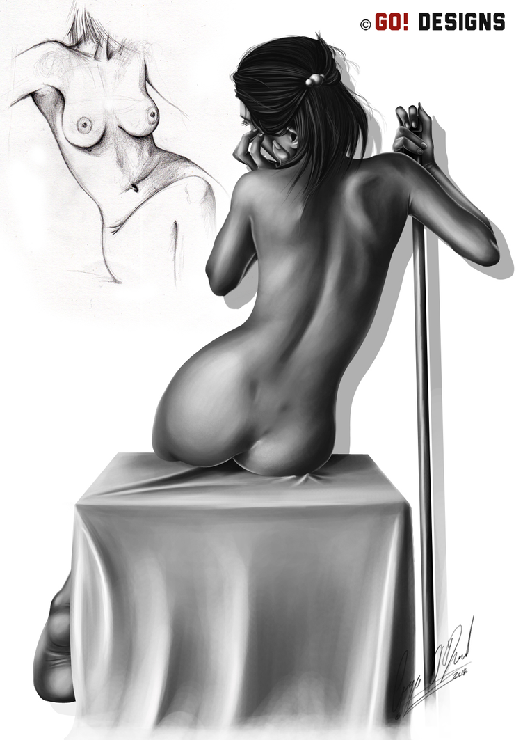 Life Drawing Back of Woman by RiokoLove