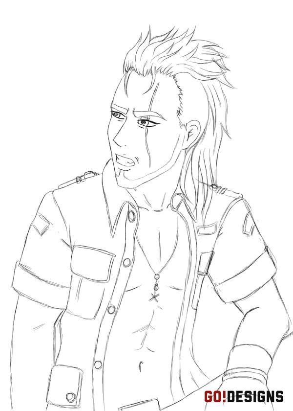 Final Fantasy XV: Gladiolus Amicitia Sketch by G0DESIGNS