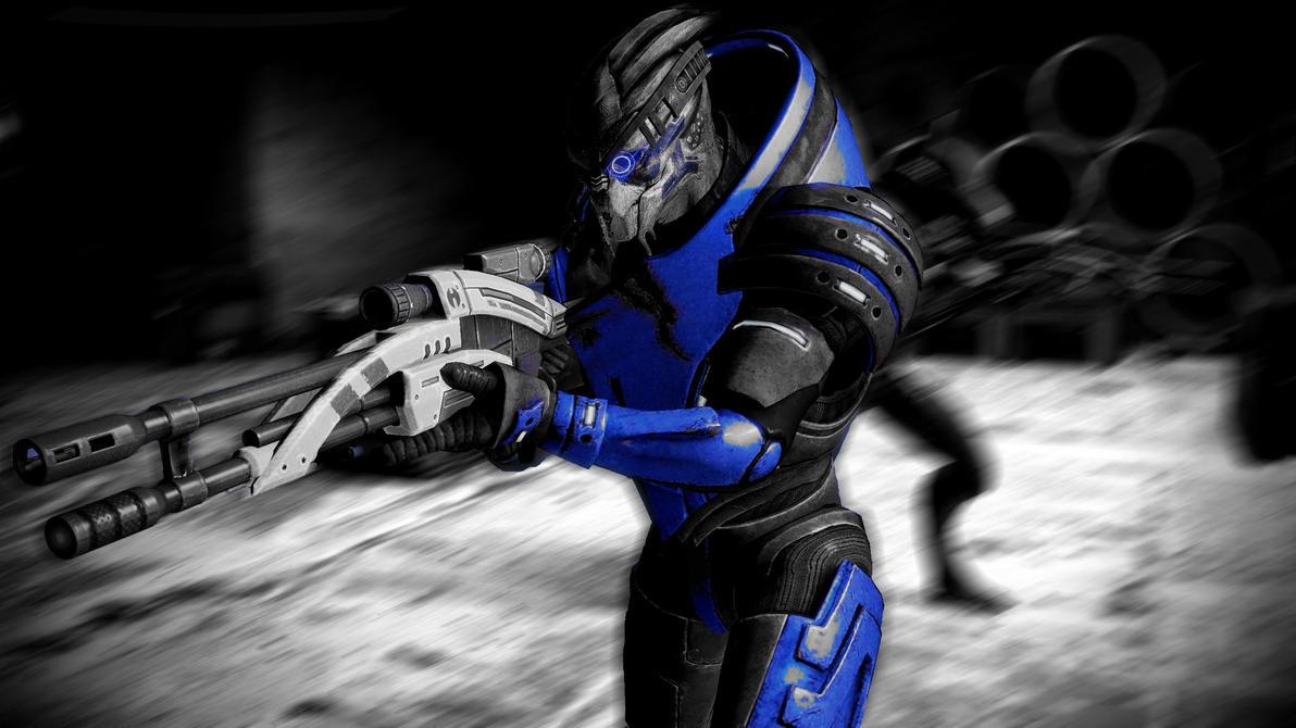 Garrus Vakarian: grey-blue by Cerrydd