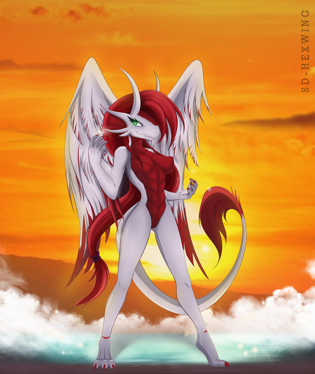 Sunset Dragon by darkly-shaded-shadow on DeviantArt |Dragons And Sunsets