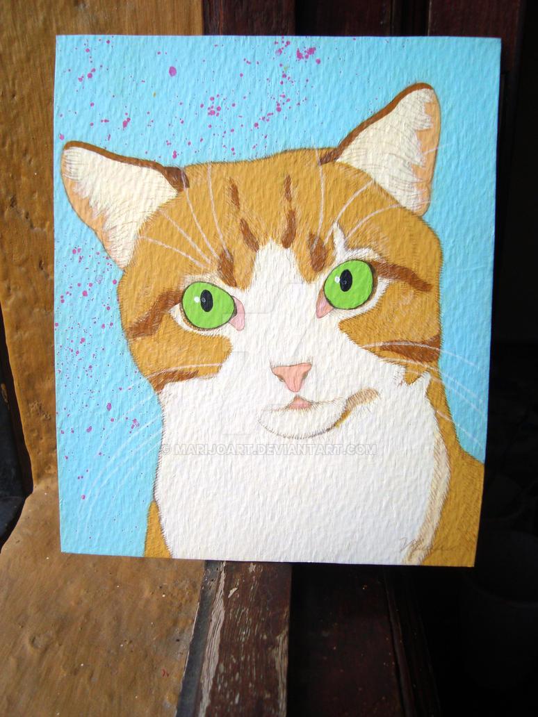 Mixed Media Cat by Marijoart
