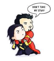 Loki/Tony - don't take my stuff by Shoochan