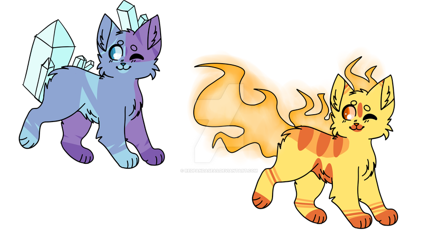 Ice and fire cat adopts by Redpandaseas