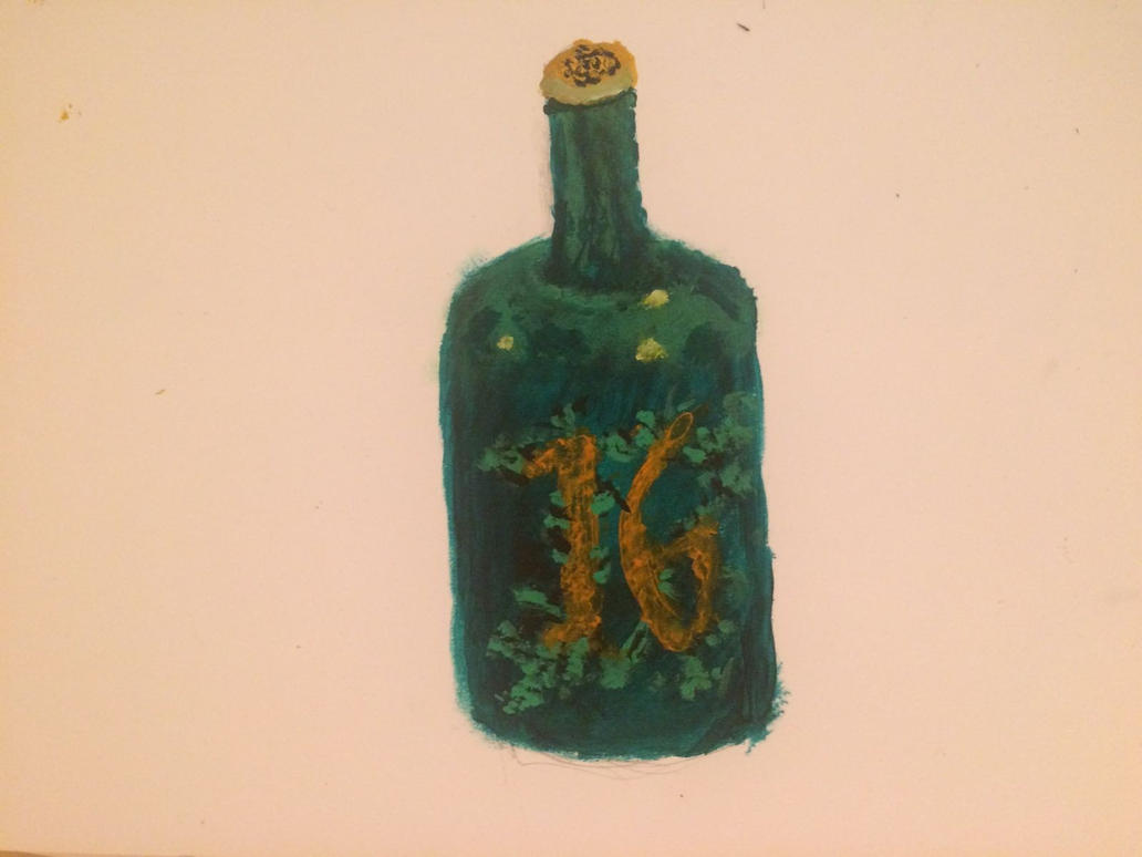 dark green glass bottle by Lixzia