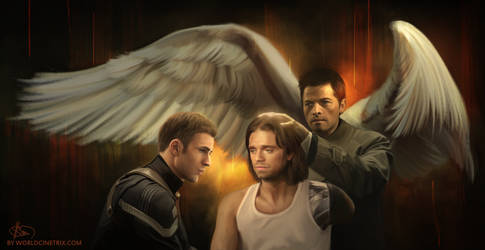 The Healing / Bucky Barnes and Castiel by cinetrix