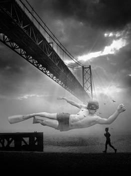 Photomanipulation Explayado bajo el Puente
