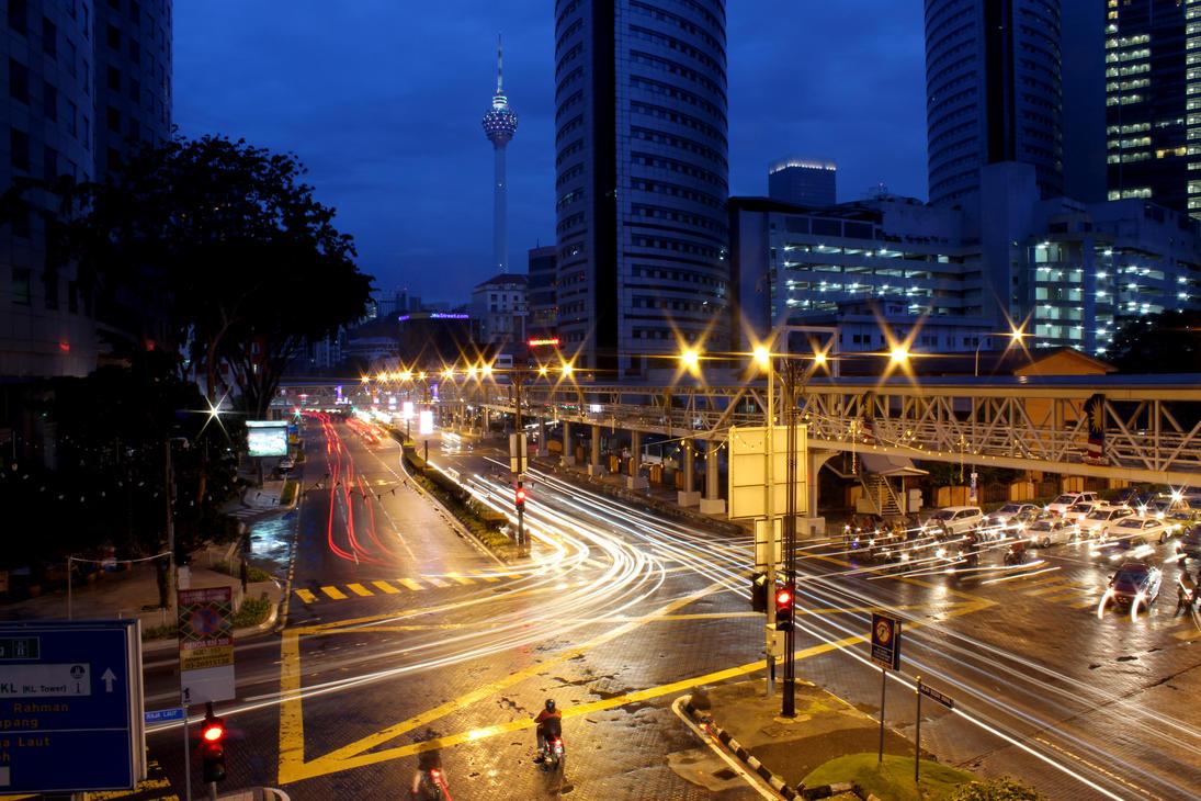 Evening Street Somwhere in Kuala Lumpur by SinanDira