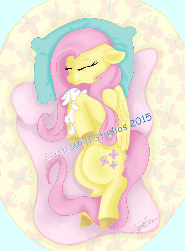 Sleeping Fluttershy bronycon print sneak preview by LilWolfStudios