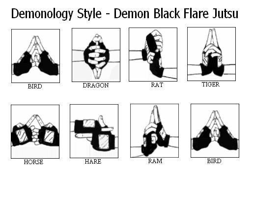 Naruto hand signs for water dragon jutsu demon black flare jutsu by