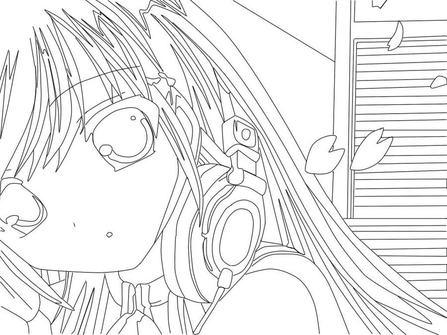 Anime girl drawing by purifieddemon on deviantart for Manga girl coloring pages