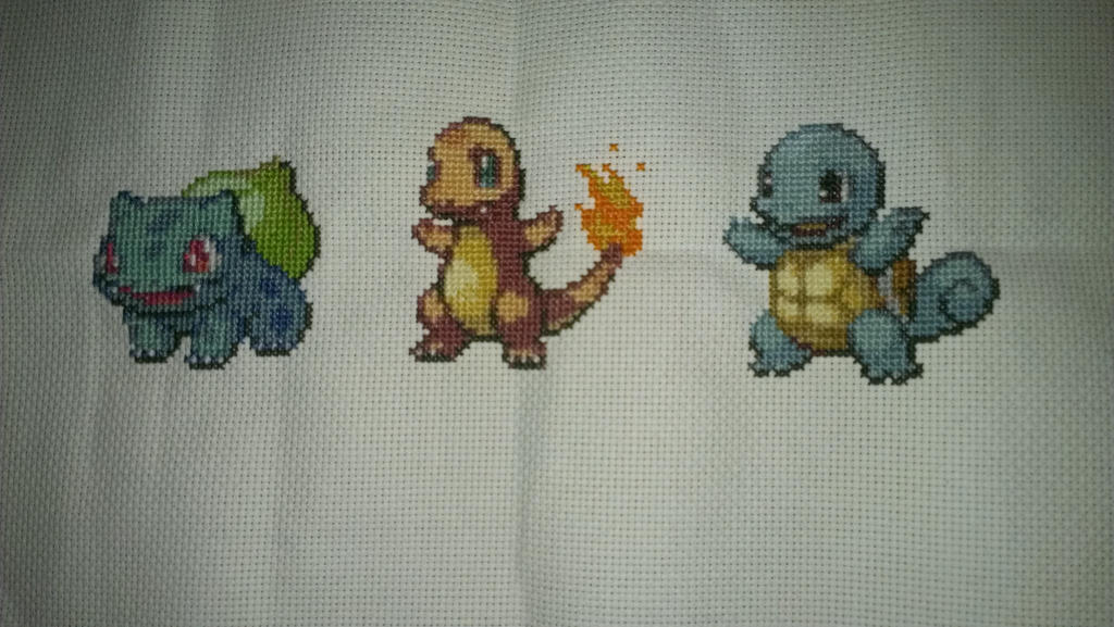 Gen 1 Starters Cross stitch by Sippen