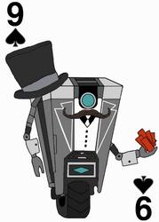 Gentleman Claptrap on the Nine of Spades by JenniBee