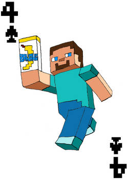 Steve From Minecraft 4 of Spades Card