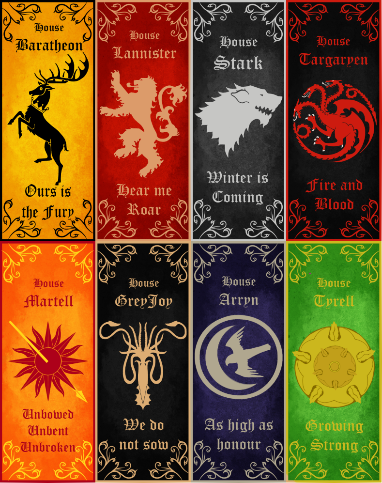Game of Thrones bookmarks by GreyeWolf
