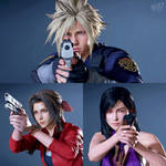 Cloud, Aerith and TIfa in RE2R x Final Fantasy