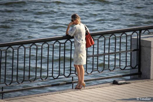 Melancholic Woman Looking At Water