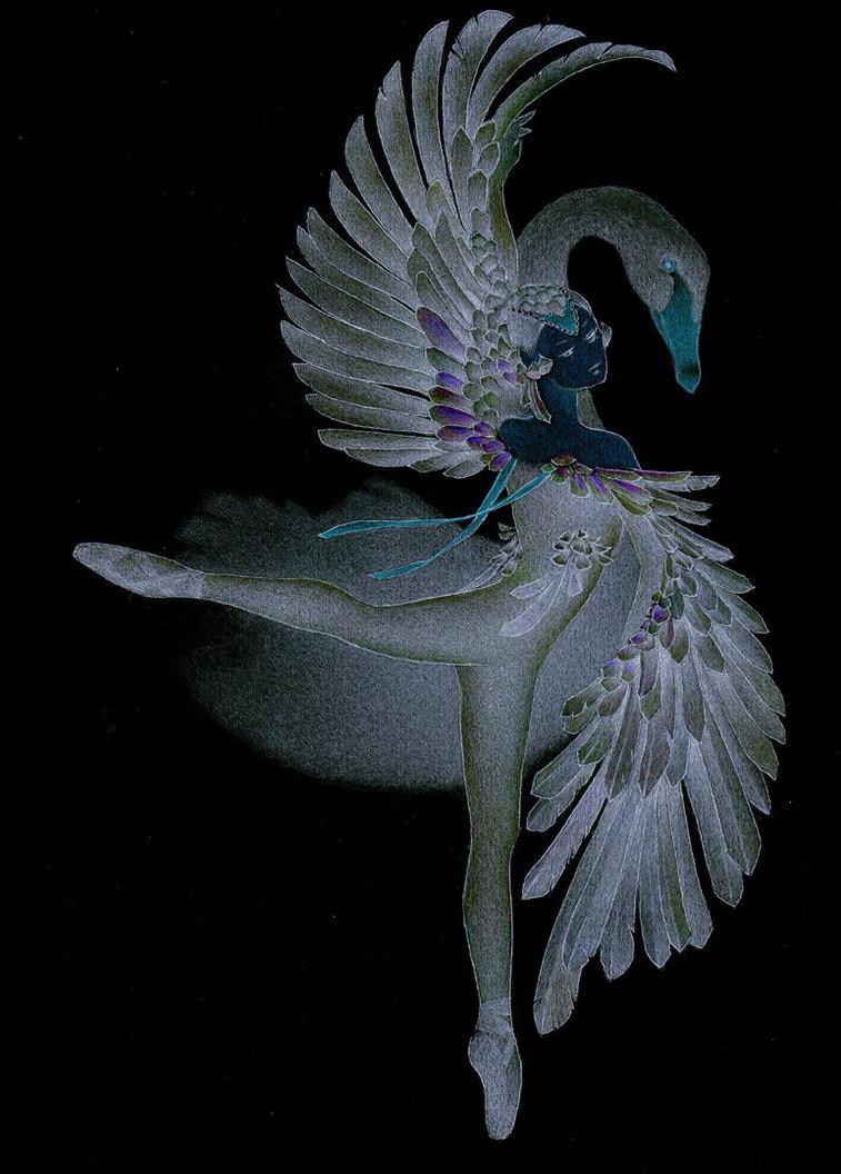 swan lake (negative) by faeriefaeria