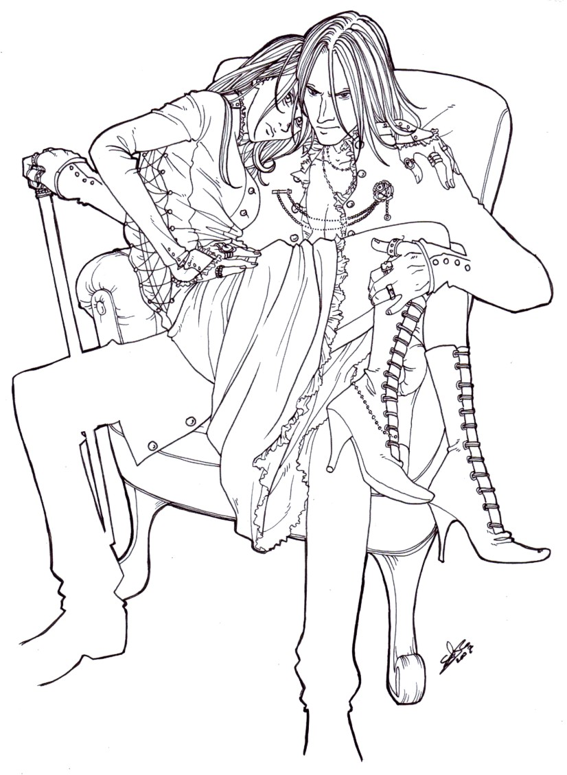 Mr and Mrs Malfoy LINEART by nami64
