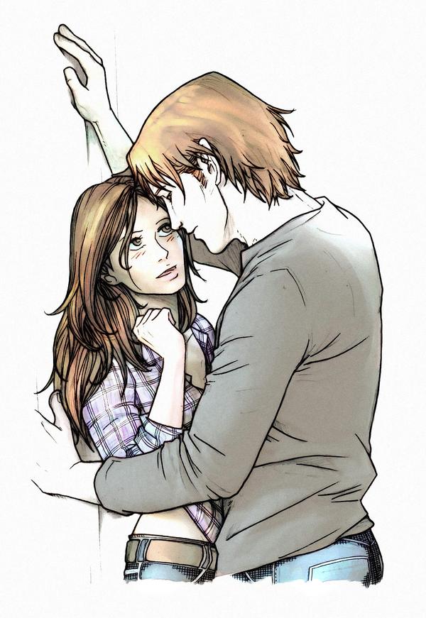 парень и девушка рисунок в полный рост