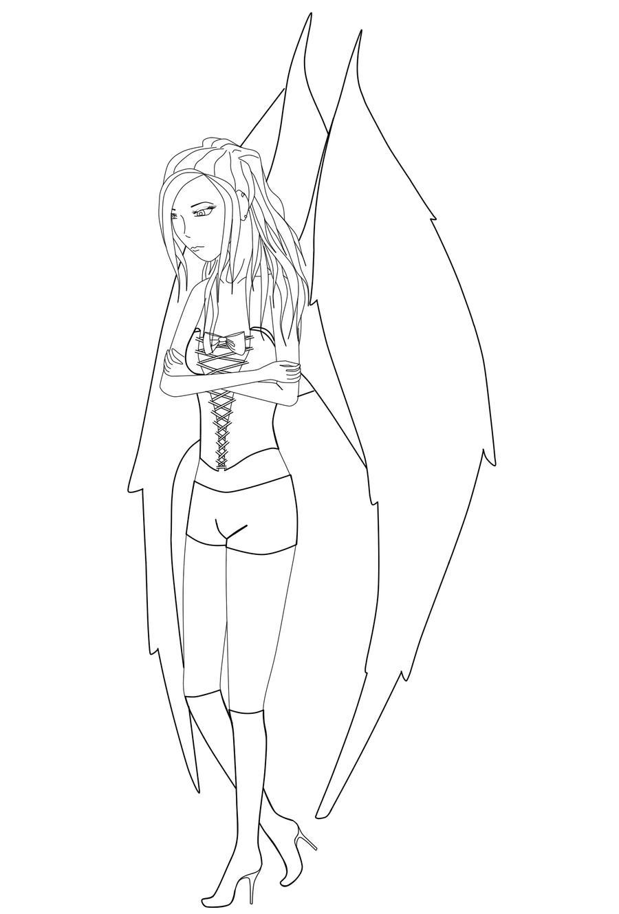 Line Drawing Angel : Fallen angel line art by angellips on deviantart