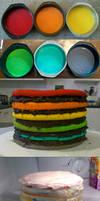 Super Epic Rainbow Cake process