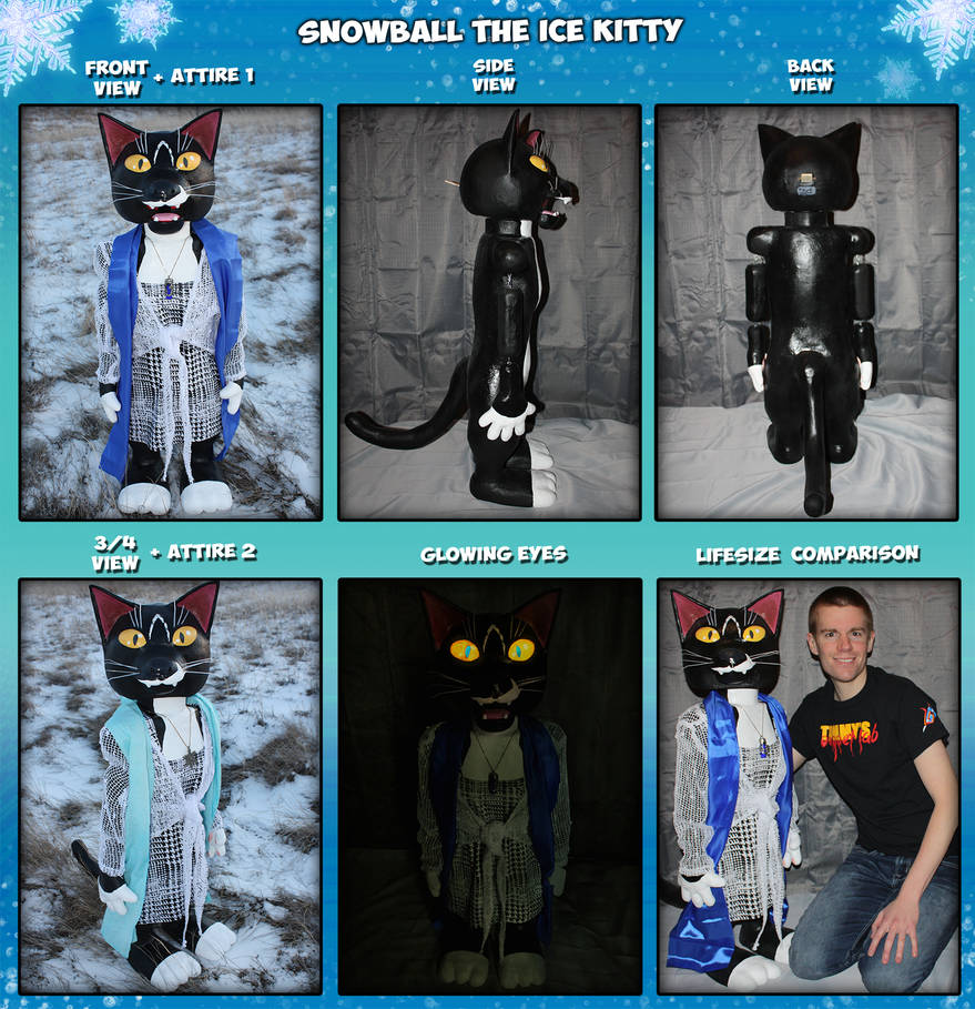 Snowball the Ice Kitty Puppet (Original Character)