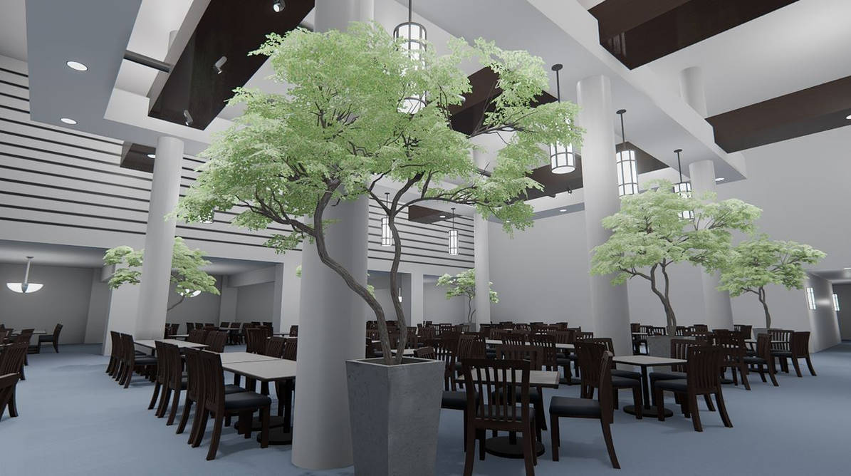 Cafeteria rendered in Unreal Engine 4 by maj86 on DeviantArt