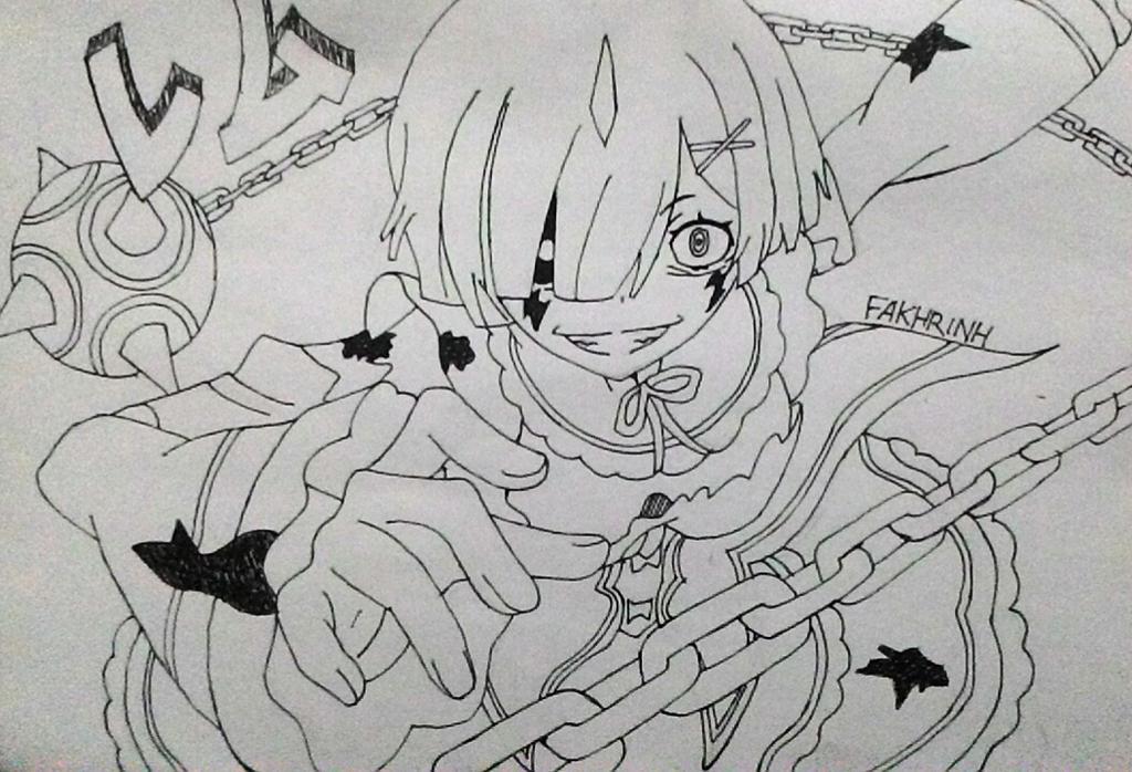 Line Art Zero : Rem oni mode re zero by fakhrinh on deviantart