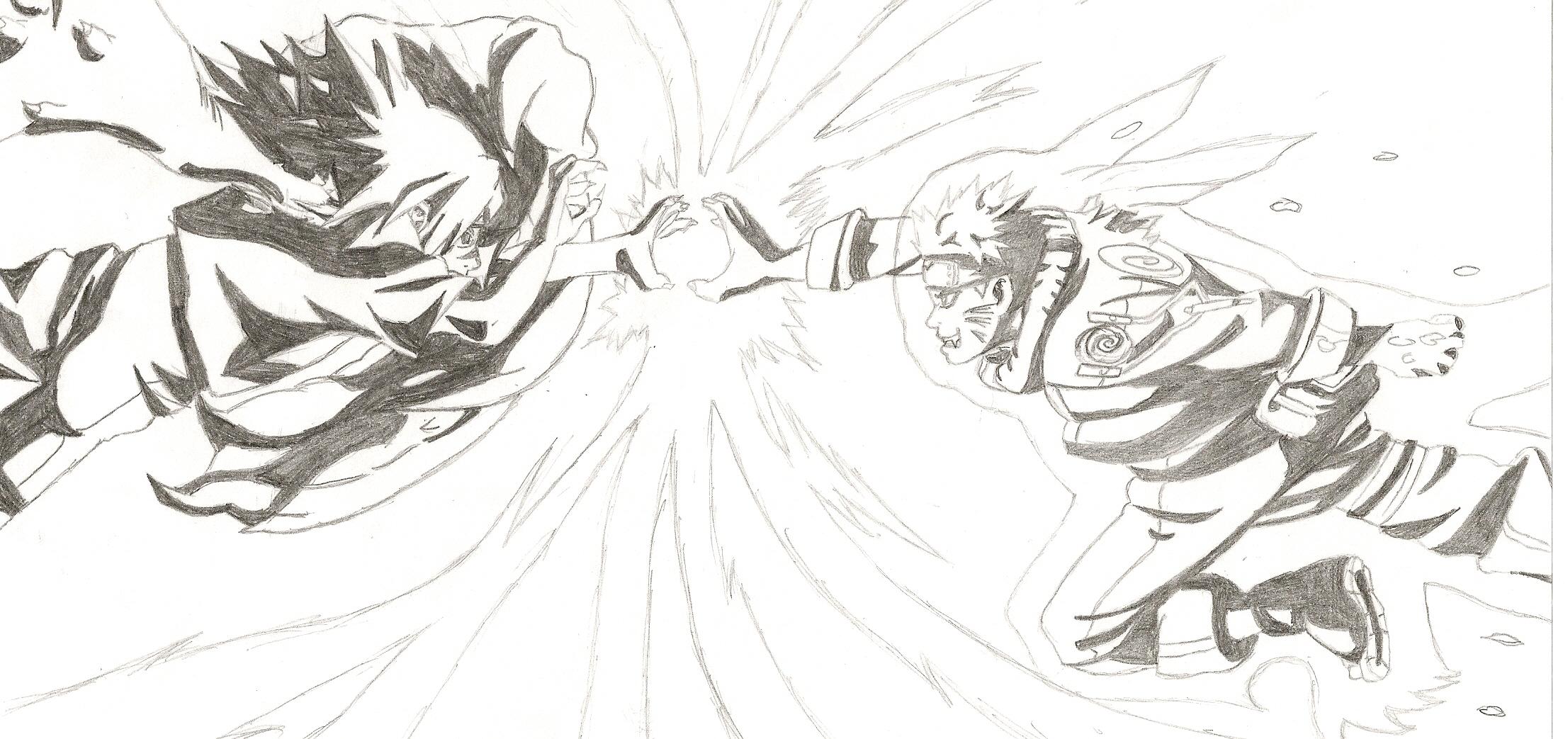 How to draw sasuke vs naruto