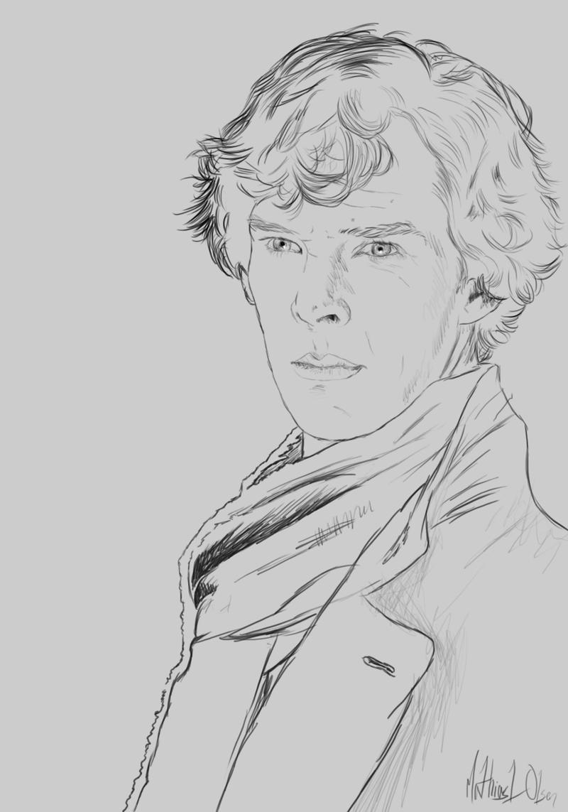 Sherlock Holmes Line art by Lasse17