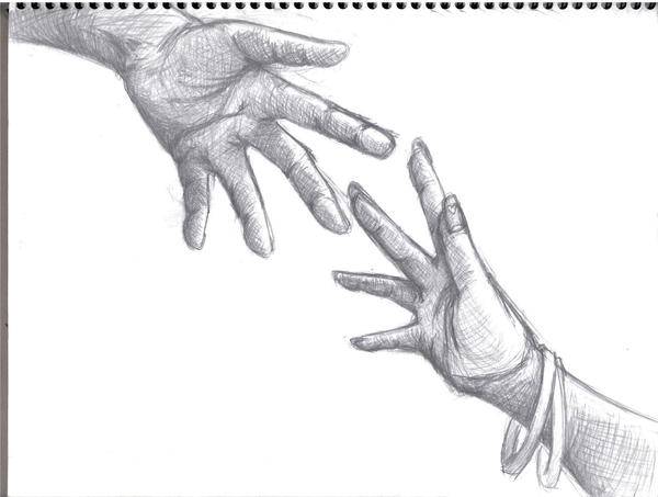 Drawings of hands reaching out
