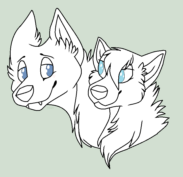 Free Ms Paint Canine Couple Lineart By Wolfpawdoptables On