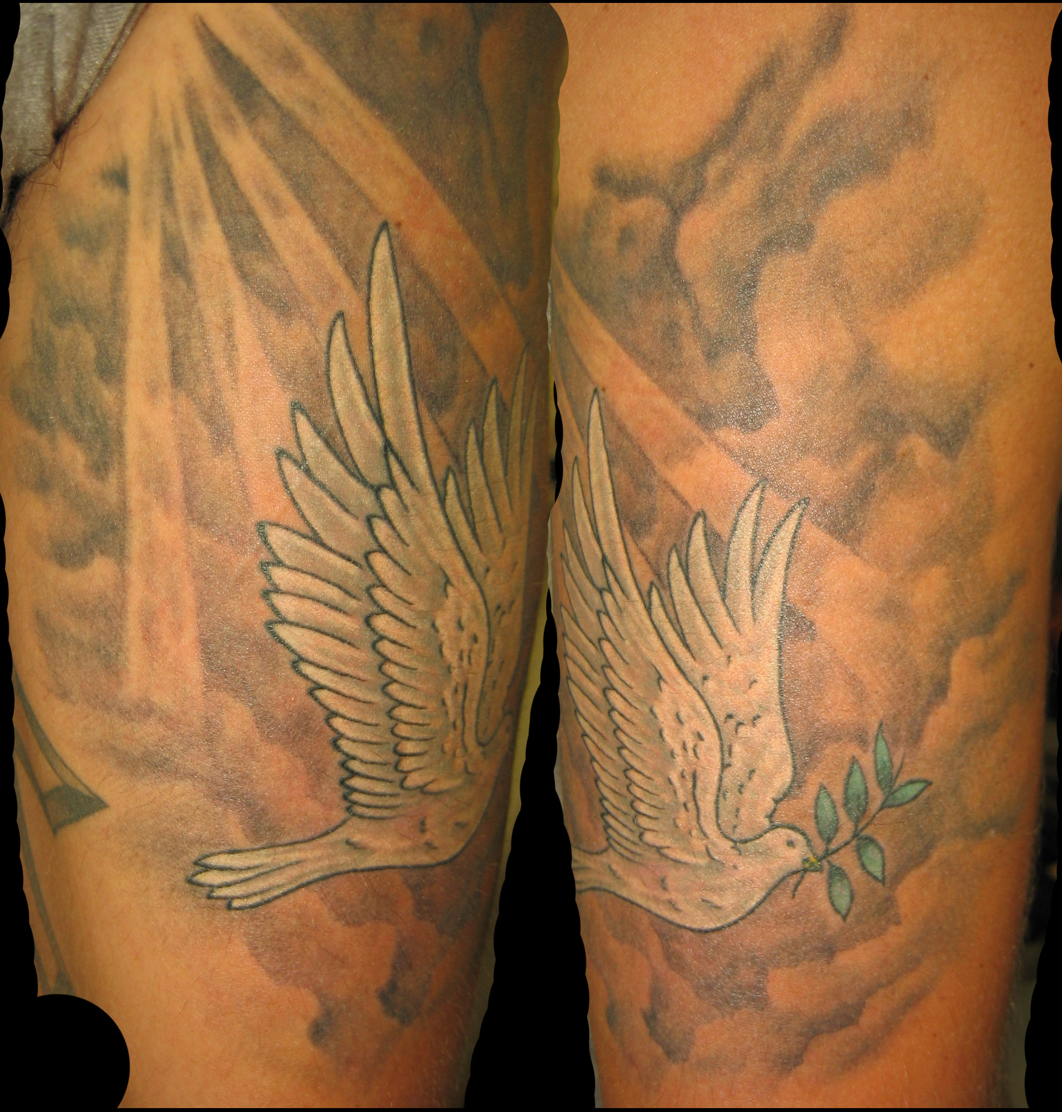 Doves and clouds tattoos